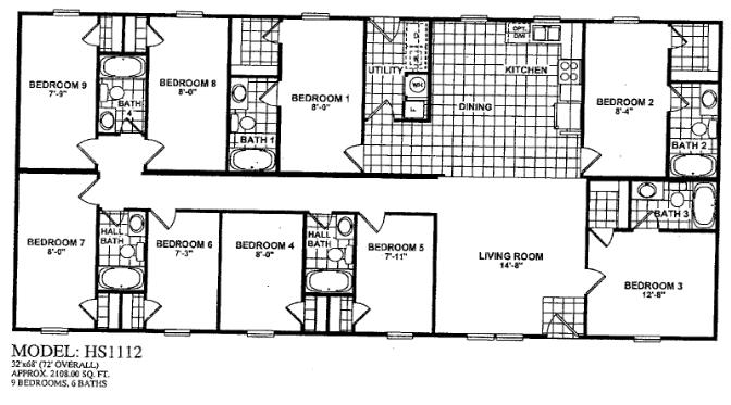 9 BEDROOM 6 BATH. Oilfield Trailer Houses   unit floor plans  prices on mancamps