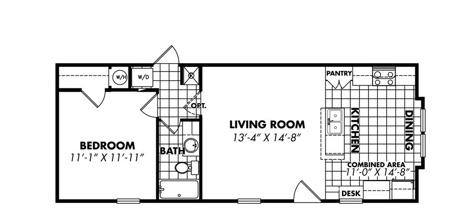Floorplan for 1 bedroom single wide manufactured home for 1 bedroom mobile homes
