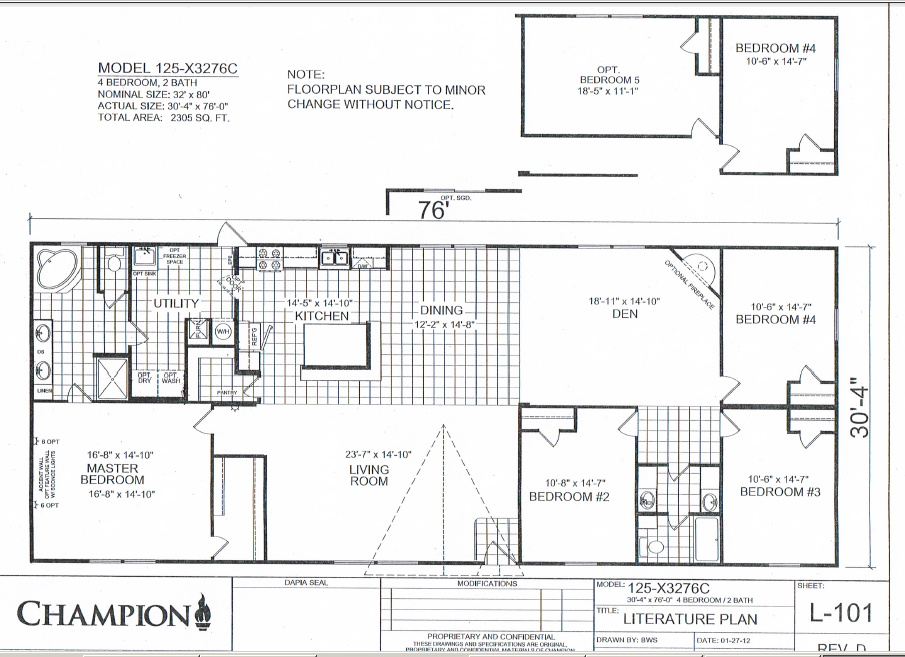 Champion homes double wides for 5 bedroom mobile home floor plans