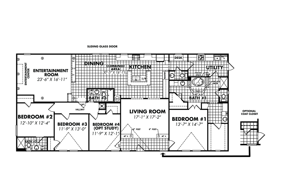 Legacy Housing Double Wides Floor Plans – 5 Bedroom 3 Bath Mobile Home Floor Plans