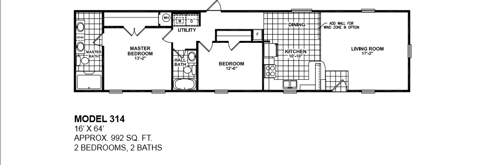 2 bedroom single wide mobile home floor plans for 2 bedroom mobile home floor plans