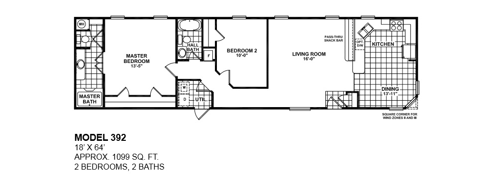 model 392 18x64 2bedroom 2bath oak creek mobile. Oak Creek Single Wides   Manufactured Homes Modular Mobile Homes