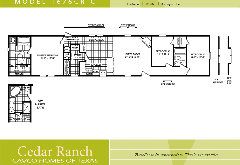Mobile home floor plans 2 bedroom 2 bathroom single wood for 2 bedroom mobile home floor plans