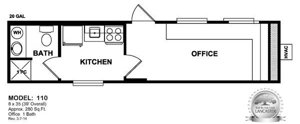 mancamp office with bathroom and kitchen