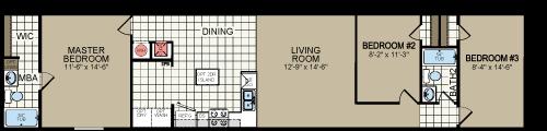 RM1668A 16x68 3 bedroom 2 bath single wide floor plan 210-887-2760