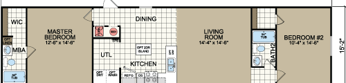 1664A - 16x64 2 bedroom 2 bath single wide floor plan 210-887-2760
