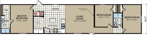 RM1672A-16x72 3 bedroom 2 bath single wide floor plan 210-887-2760
