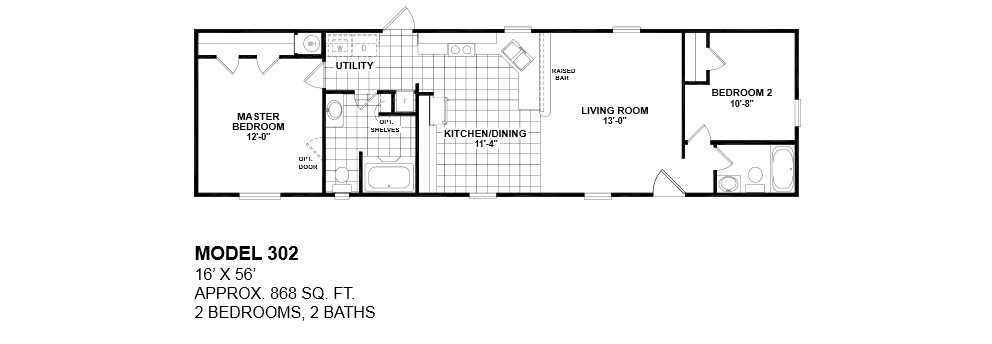 Model 302 14x56 2bedroom 2bath oak creek mobile home for 16 foot wide mobile home floor plans