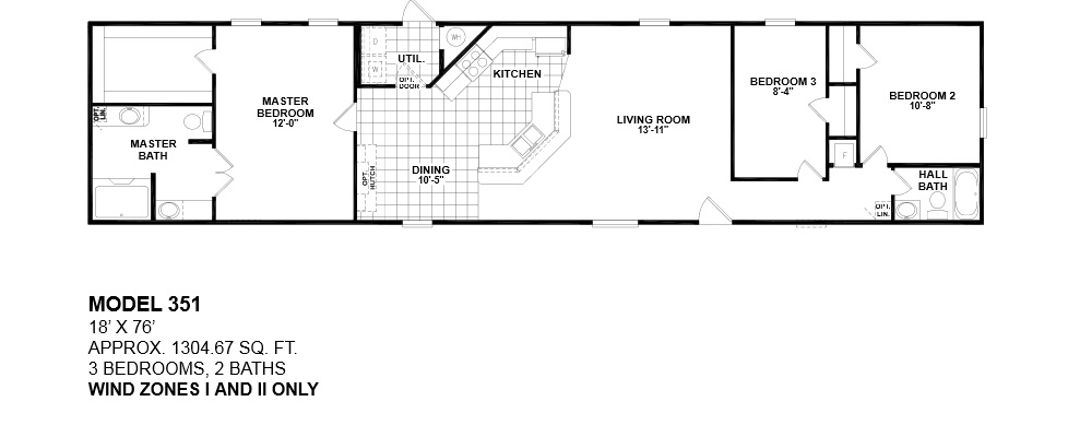 model 351 18x76 WIND ZONE 1 AND 2 ONLY 3bedroom 2bath. floor plans