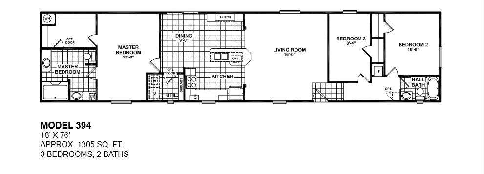 model-394-18x76-3bedroom-2bath-oak-creek-mobile-home Redman Mobile Home Floor Plans X on