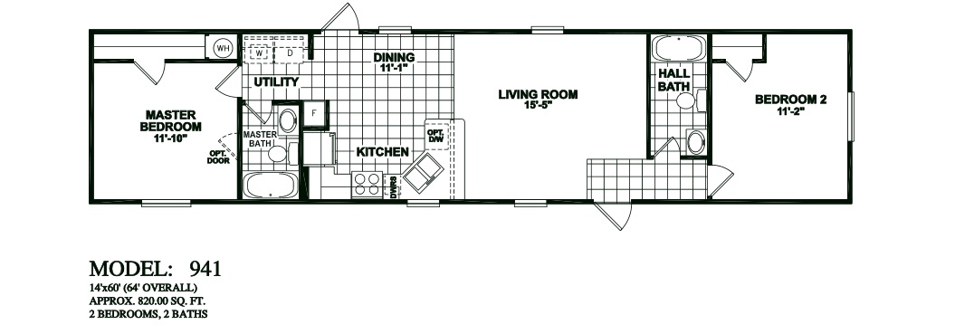 Model 941 14x60 2bedroom 2bath oak creek mobile home for 2 bedroom mobile home floor plans