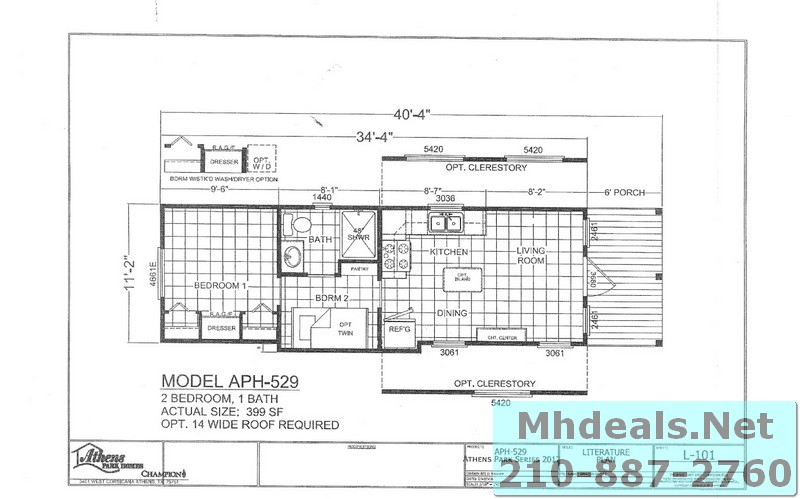 Athens 2 bed 1 bath 529 floorplan