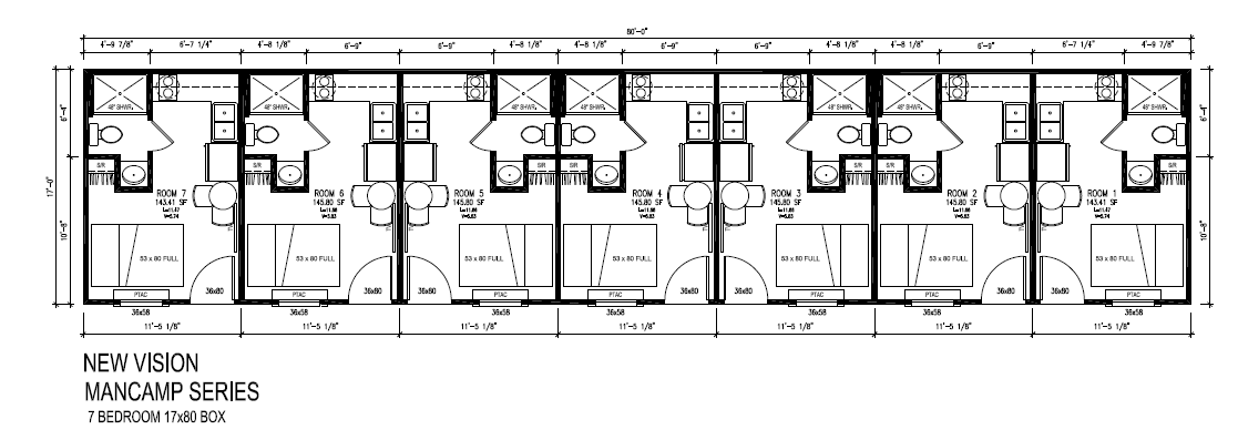 7 bed 7 bath oilfield mancamps with personalized rooms