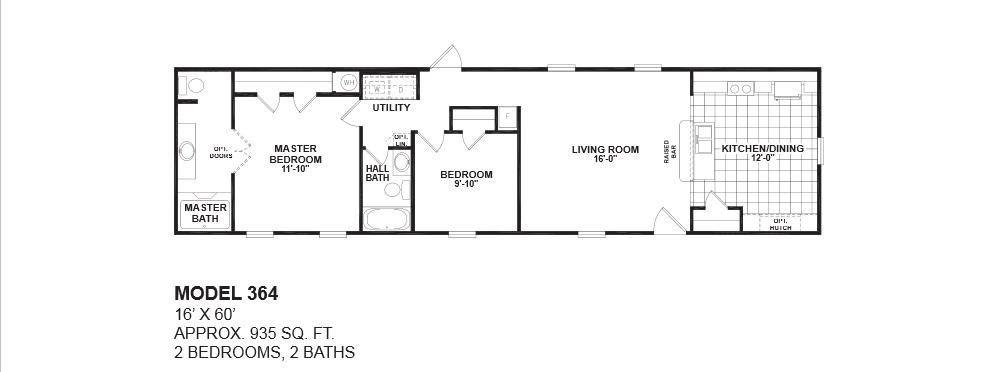 2 bedroom 2 bath single wide mobile home floor plans for One bedroom one bath mobile home