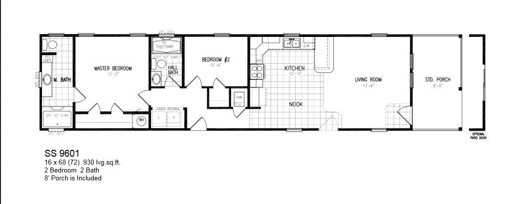 Model Ss Select 9601 16x68 2bedroom 2bath 8ft Porch Oak